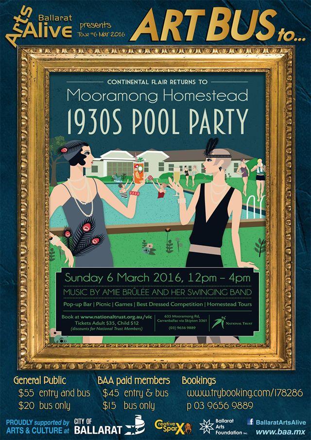 Ballarat Arts Alive Artsbus 1930's POOL PARTY at Mooramong Homestead
